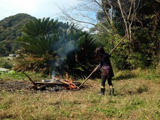 こどもたちは、火が絶えないようにすることを「火を育てる」と言います。「火よ育て~火よ育て~」と言いながら、うまく枝や葉を投入します。