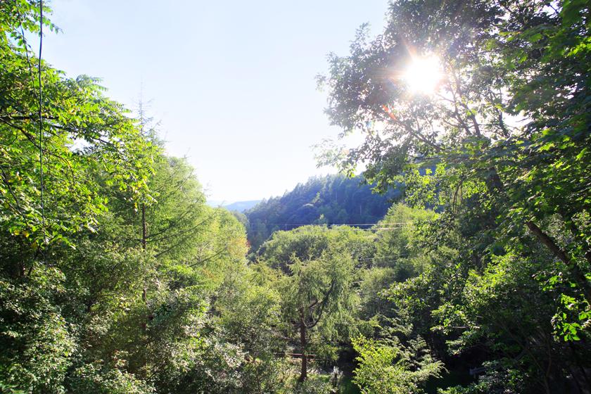 別荘から見渡す景色。遠くに中央アルプスの稜線が連なって見えます