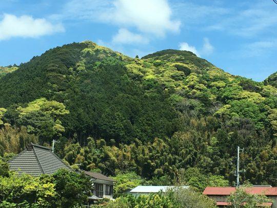 道に出れば、いつも見える風景。むこうの山は、笑っていました。
