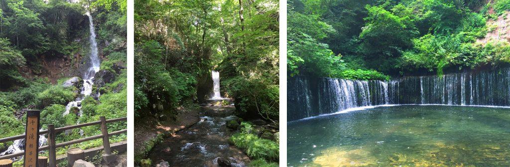 左から千ヶ滝、竜返しの滝、白糸の滝。