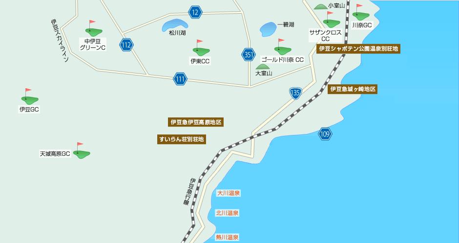 伊豆エリアの別荘地詳細地図