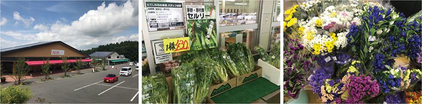 ここに買い物に来ると、新鮮でおいしそうな野菜や果物が売っているので、ついつい買い込んでしまいます。花も原村の特産物です。