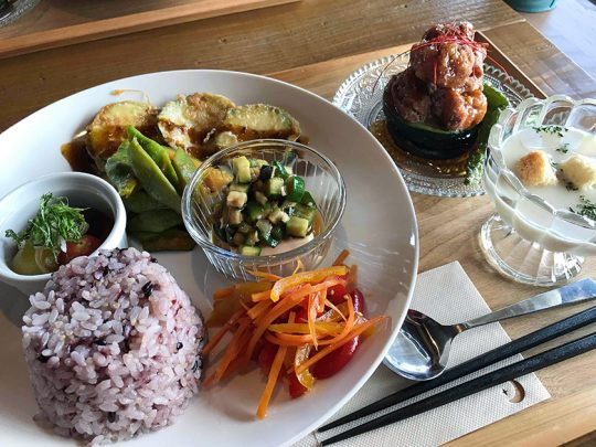 すべて野菜を使った料理が綺麗に並ぶ、マクロビのランチプレート。