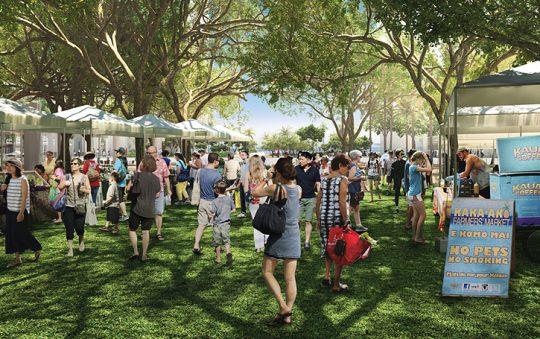 地元住民や旅行者も楽しめる街として、人々が集う緑豊かな憩いの場が計画されています(イメージCG)