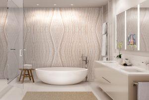 オニキス張りの高級バスルーム(イメージCG)