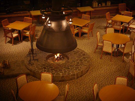 (暖炉の火を見ながらディナーに舌鼓を打つなんてステキですね!)