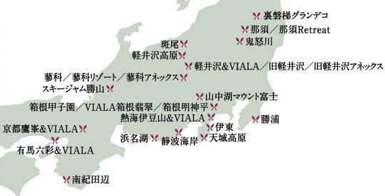 東急ハーヴェストクラブ全国施設地図2019