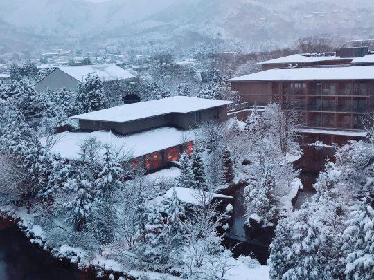 深々と降る雪と暖かな明かり