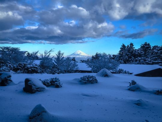 天城高原の雪と冠雪の富士