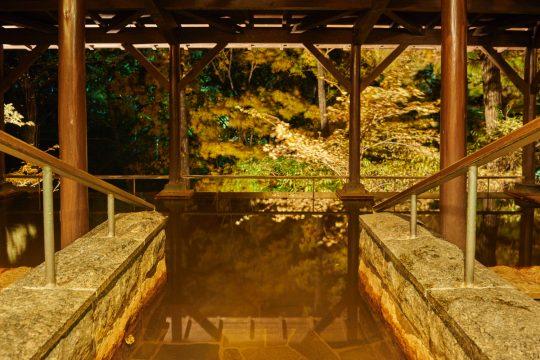 夜は東急ハーヴェストクラブ那須の温泉露天風呂で