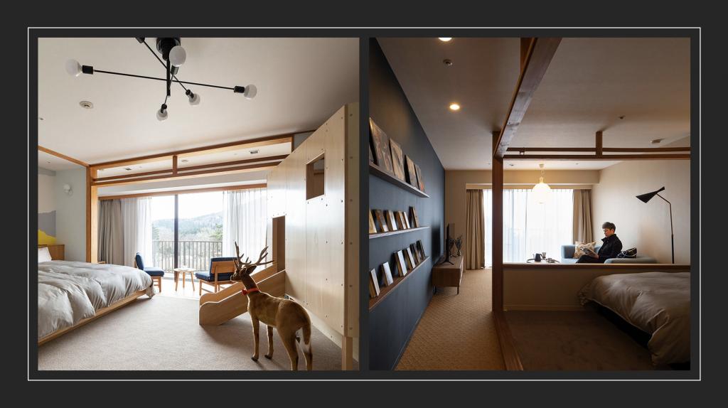 東急ハーヴェストクラブ天城高原のコンセプトルームのうち、大き なベッドの部屋(左)と本と音楽の部屋(右)