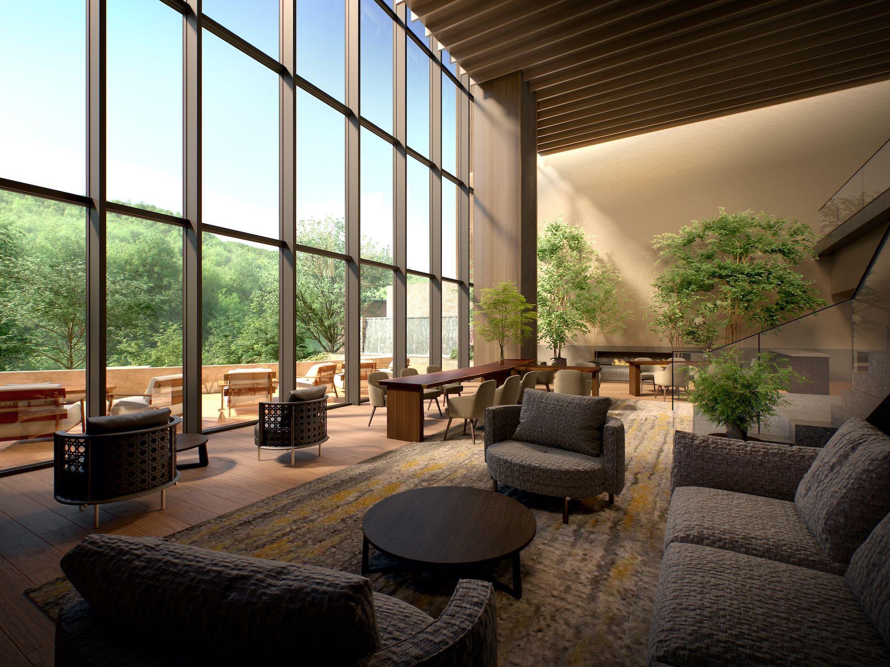 「東急ハーヴェストクラブVIALA鬼怒川渓翠」のラウンジは、鬼怒川の緑や「KINUGAWAテラス」の開放的な空間との連続性を感じさせる