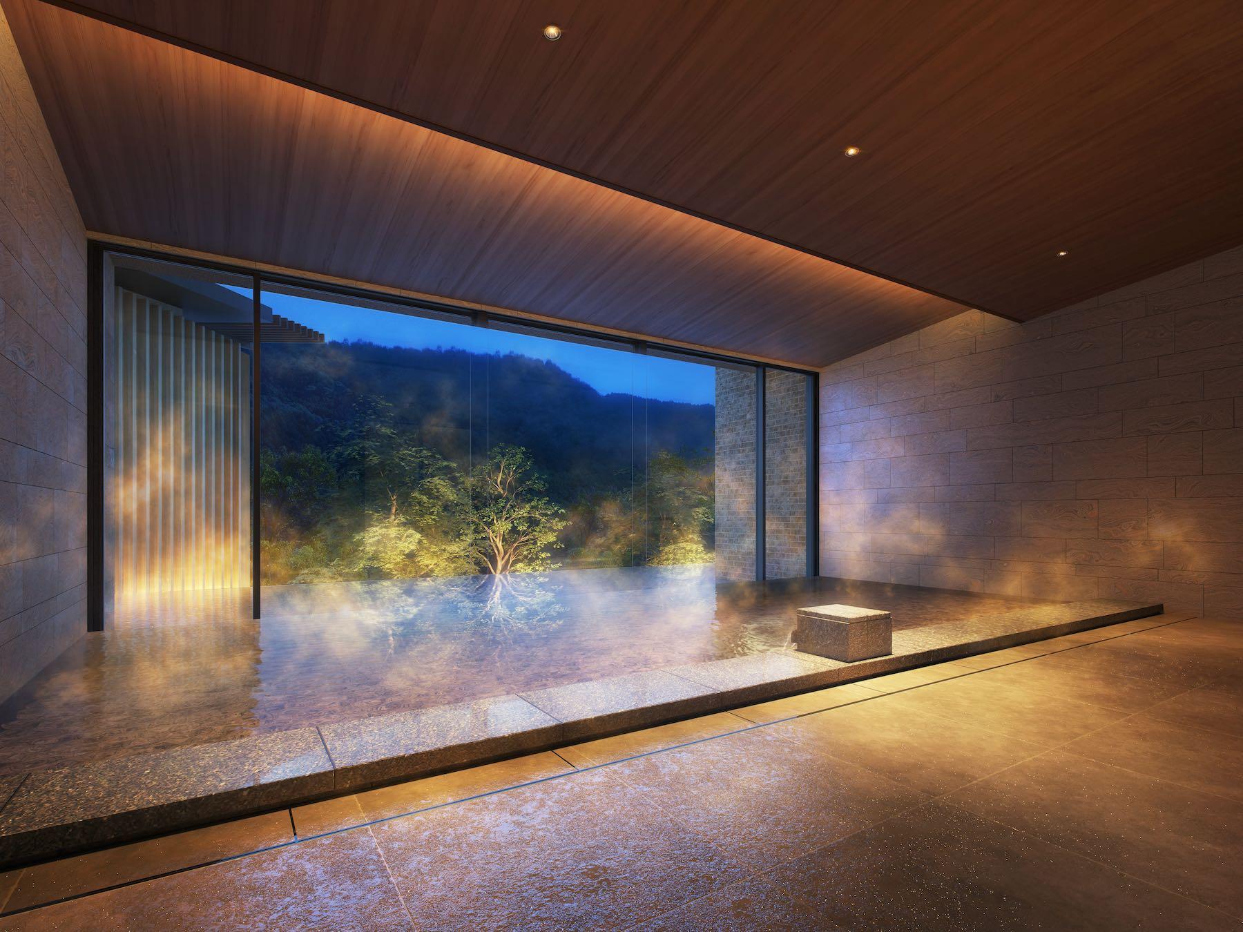 「東急ハーヴェストクラブVIALA鬼怒川渓翠の内風呂も窓の外には渓谷の緑が