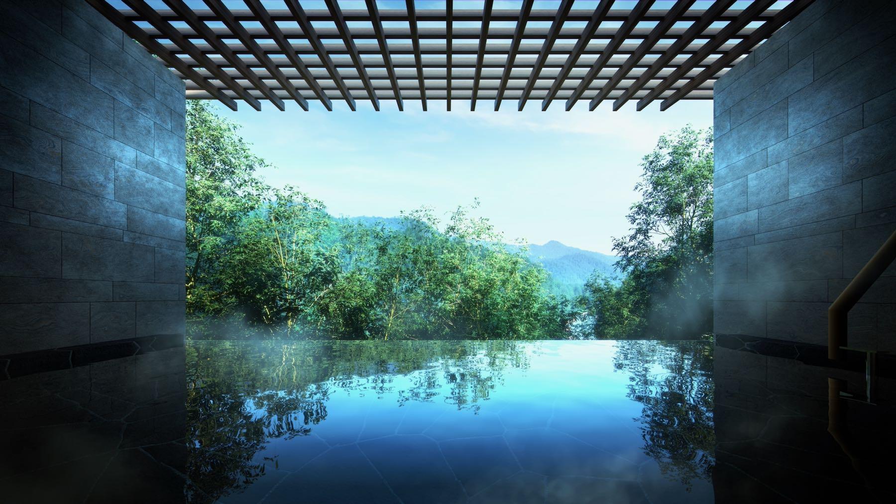 「東急ハーヴェストクラブVIALA鬼怒川渓翠」露天風呂では温泉につかりながら、渓谷の川の流れや緑の匂いにも心安ぐひと時を
